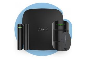 AJAX StarterKit Black (Стартовый комплект (интеллектуальная централь, датчик движения, датчик открытия, брелок), чёрный)