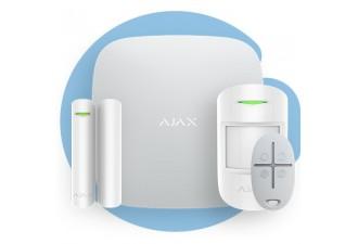 AJAX StarterKit White (Стартовый комплект (интеллектуальная централь, датчик движения, датчик открытия, брелок), белый)