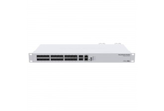 Коммутатор MikroTik Cloud Router Switch 326-24S+2Q+RM with 2 x 40G QSFP+ cages, 24 10G SFP+ cages, 1x LAN port for management, RouterOS L5 or SwitchOS (dual boot), 1U rackmount enclosure, Dual redundant PSU